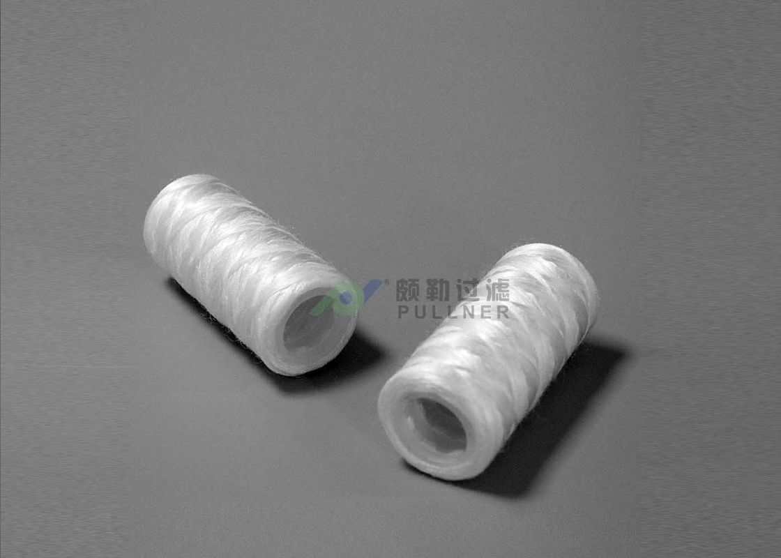 Sprial PP Cotton String Wound Cartridge , Glass Fiber Poly Wound Filter Cartridge